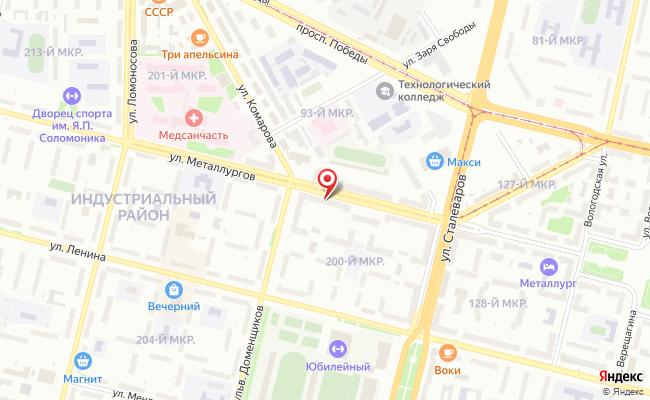 Карта расположения пункта доставки Череповец Металлургов в городе Череповец