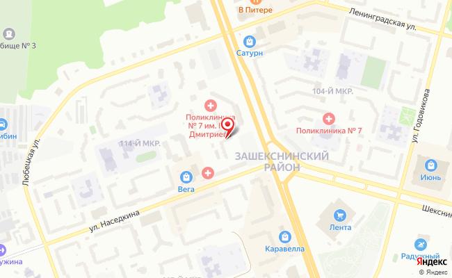 Карта расположения пункта доставки Череповец Наседкина в городе Череповец