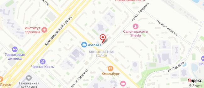 Карта расположения пункта доставки Люберцы Гагарина в городе Люберцы