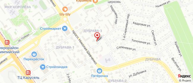 Карта расположения пункта доставки Старый Оскол Дубрава квартал 3 в городе Старый Оскол