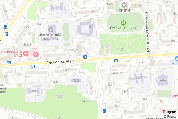 Ремонт телевизоров Улица 1 я Вольская на яндекс карте