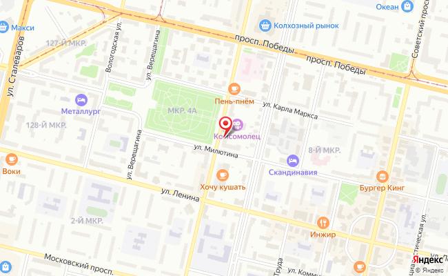 Карта расположения пункта доставки Череповец М.Горького в городе Череповец
