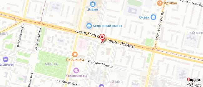 Карта расположения пункта доставки Ростелеком в городе Череповец