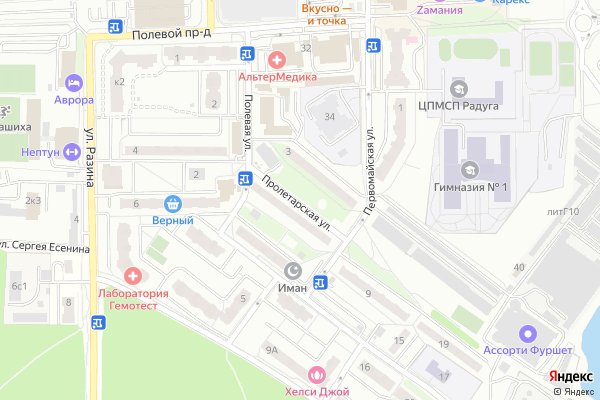 Ремонт телевизоров Улица Пролетарская на яндекс карте