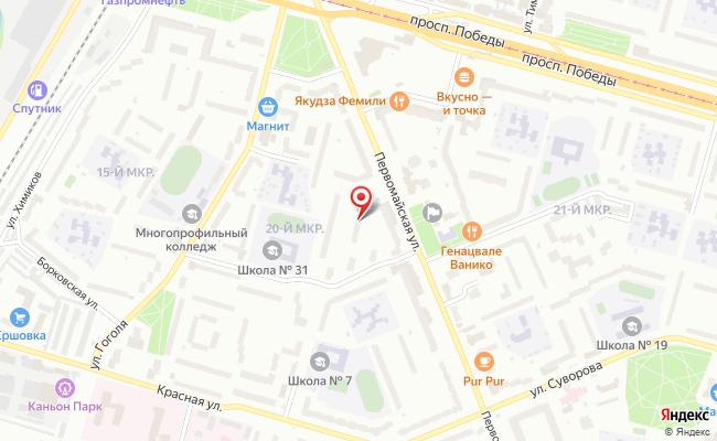 Карта расположения пункта доставки Череповец Первомайская в городе Череповец