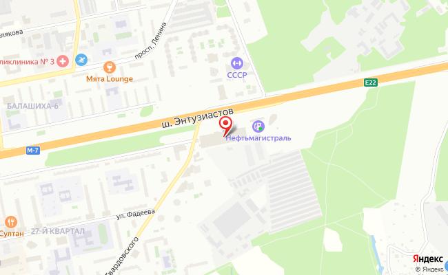 Карта расположения пункта доставки 220 вольт в городе Балашиха