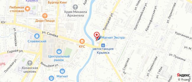 Карта расположения пункта доставки Крымск Троицкая в городе Крымск