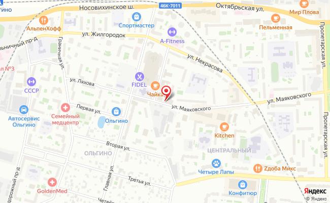 Карта расположения пункта доставки Ростелеком в городе Железнодорожный
