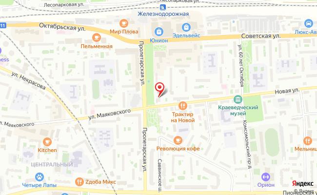 Карта расположения пункта доставки Салон-магазин Триколор ТВ в городе Железнодорожный