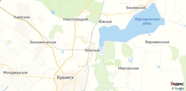 Красный на карте