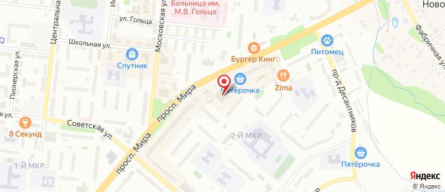 Карта расположения пункта доставки Фрязино Мира в городе Фрязино