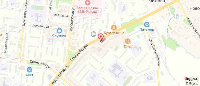 Карта расположения пункта доставки Билайн в городе Фрязино