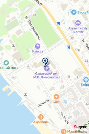 Пляж санатория им. Ломоносова на карте Геленджика