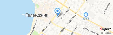 Продовольственный магазин на Кирова на карте Геленджика