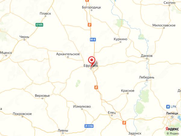 Ефремов на карте