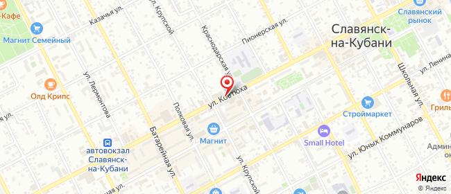 Карта расположения пункта доставки Билайн в городе Славянск-на-Кубани