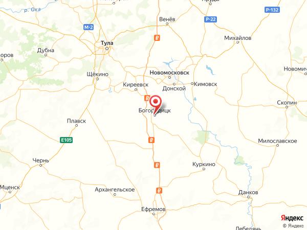 Богородицк на карте