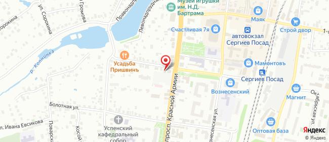 Карта расположения пункта доставки Сергиев Посад Красной Армии в городе Сергиев Посад