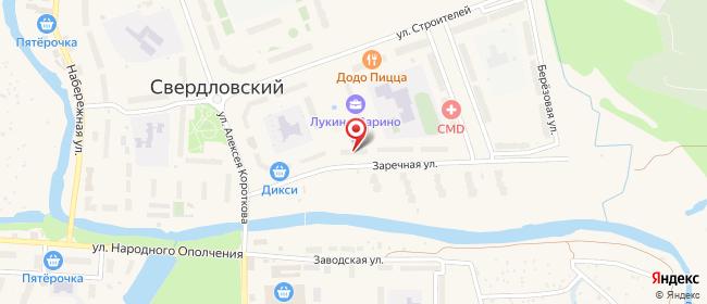 Карта расположения пункта доставки Свердловский Заречная в городе Свердловский