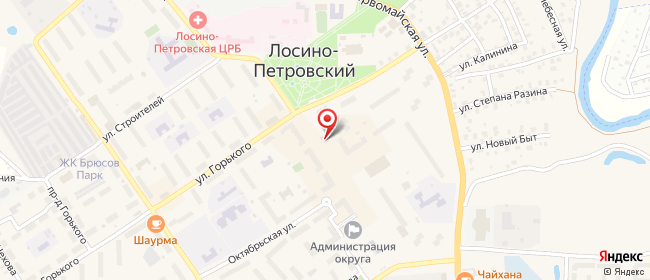 Карта расположения пункта доставки Лосино-Петровский Ленина в городе Лосино-Петровский