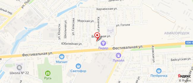 Карта расположения пункта доставки На Фестивальная в городе Приморско-Ахтарск