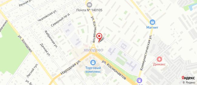 Карта расположения пункта доставки На Космонавтов в городе Раменское