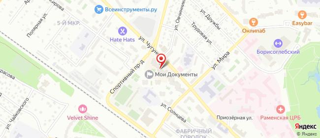 Карта расположения пункта доставки Раменское Чугунова в городе Раменское