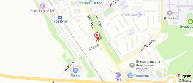 Карта расположения пункта доставки Новомосковск Мира в городе Новомосковск