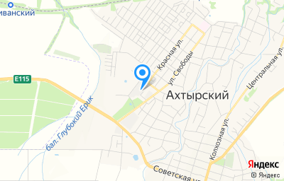 Местоположение на карте пункта техосмотра по адресу Краснодарский край, Абинский р-н, пгт Ахтырский, ул Красная, д 1А