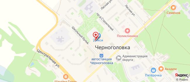 Карта расположения пункта доставки Черноголовка Школьный в городе Черноголовка