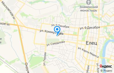 Местоположение на карте пункта техосмотра по адресу Липецкая обл, г Елец, ул Коммунаров, д 57
