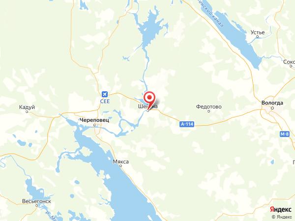 рабочий посёлок Шексна на карте