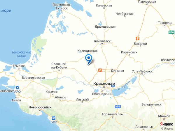 станица Андреевская на карте