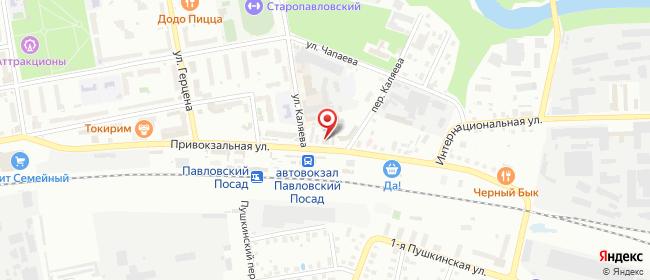 Карта расположения пункта доставки Павловский Посад Привокзальная в городе Павловский Посад
