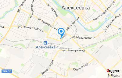 Местоположение на карте пункта техосмотра по адресу Белгородская обл, г Алексеевка, ул Мостовая, зд 10А
