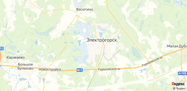Электрогорск на карте