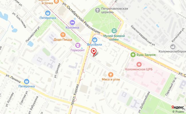 Карта расположения пункта доставки Lamoda/Pick-up в городе Коломна