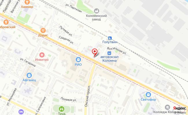 Карта расположения пункта доставки СИТИЛИНК в городе Коломна