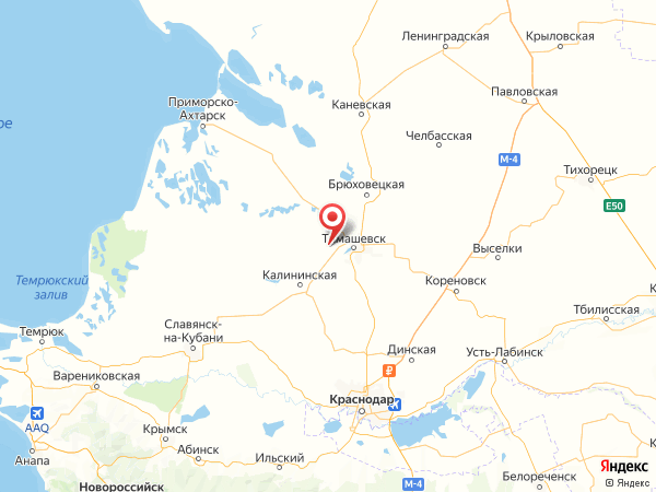 станица Днепровская на карте