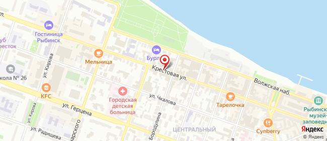 Карта расположения пункта доставки Билайн в городе Рыбинск