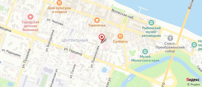 Карта расположения пункта доставки Рыбинск Ломоносова в городе Рыбинск