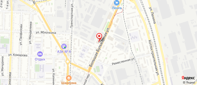 Карта расположения пункта доставки Таганрог Большая Бульварная в городе Таганрог