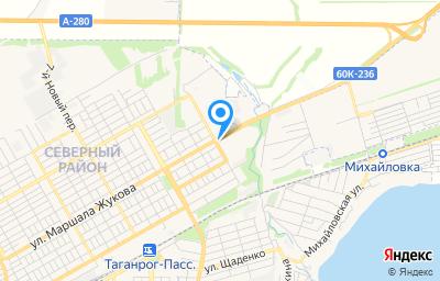 Местоположение на карте пункта техосмотра по адресу Ростовская обл, г Таганрог, пер 1-й Новый, д 8