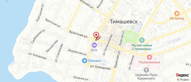 Карта расположения пункта доставки Тимашевск Братская в городе Тимашевск