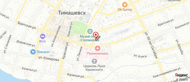 Карта расположения пункта доставки Узкая в городе Тимашевск