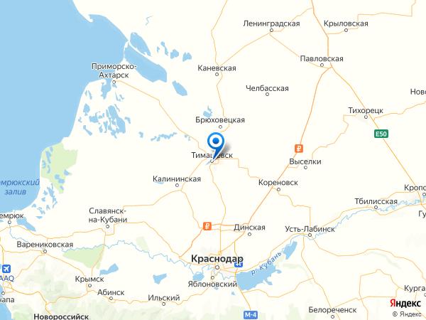 Тимашевск на карте