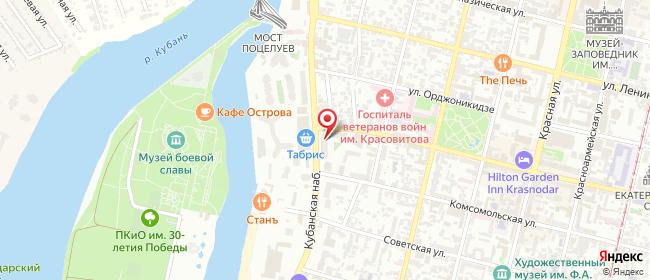 Карта расположения пункта доставки Краснодар Кубанская Набережная в городе Краснодар