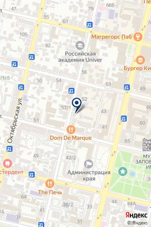 Продовольственный магазин на Рашпилевской на карте Краснодара