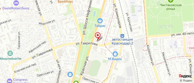 Карта расположения пункта доставки Краснодар Красная в городе Краснодар
