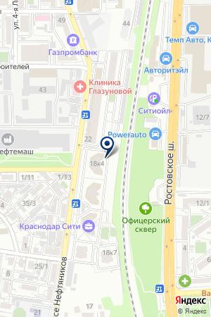 Автостандарт на карте Краснодара